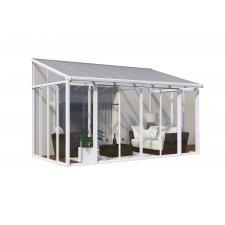 Jardin d'hiver fermé aluminium & polycarbonate Couv'Terrasse – 12,5 m² - Blanc