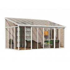 Jardin d'hiver fermé aluminium & polycarbonate Couv'Terrasse – 16,1 m² - Blanc
