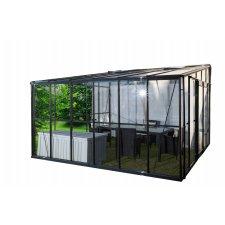 Serre jardin d'hiver en verre trempé 4 mm - Sekurit 11,8 m² + Base - Anthracite