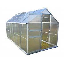 Serre jardin polycarbonate Diamant 126 – 7,2 m² - Aluminium naturel