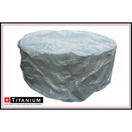 Housse de protection table ronde & chaises - TITANIUM - 215x215x90 - Argent
