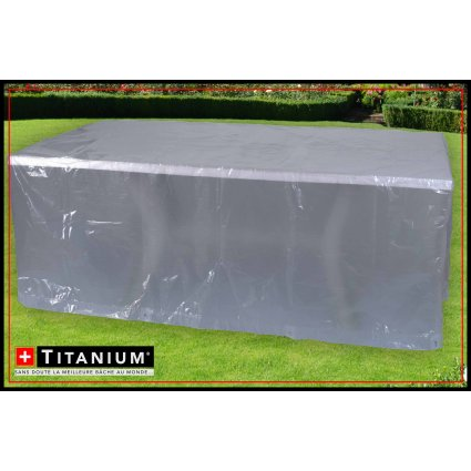 Housse protection tables rectangulaires et chaises - Titanium - 250x200x90 - Argent
