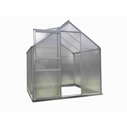 Serre jardin polycarbonate Diamant 46 – 2.3 m² - Aluminium naturel
