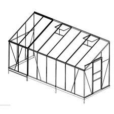Serre jardin d'hiver en verre trempé 4 mm - Sekurit 9,6 m² + Base - Anthracite