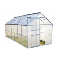 Serre jardin polycarbonate Diamant 146 – 8,2 m² - Aluminium naturel